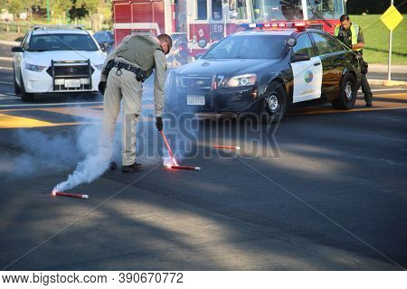 Lake Forest, CA / USA - October 19, 2020: Two Car Collision with Three People Transported to hospitals. Police, Fire, and Ambulances respond to a Two Car, Injury Accident in Lake Forest CA. EDITORIAL