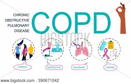 Copd Word Vector Infographic Illustration With Icons For Chronic Obstructive Pulmonary Disease.bubbl