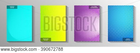 Modern Dot Perforated Halftone Front Page Templates Vector Set. Industrial Catalog Faded Halftone Ba
