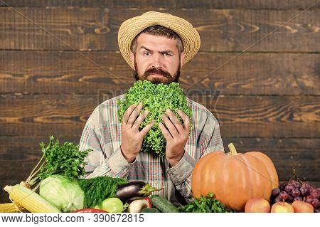 Sell Vegetables. Buy Vegetables Local Farm. Homegrown Harvest Concept. Typical Farmer Guy. Farm Mark