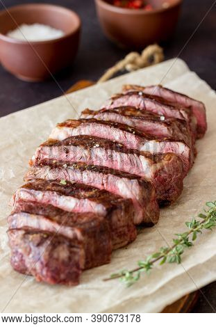 Grilled Beef Steak. American Cuisine. Recipe. Meat.