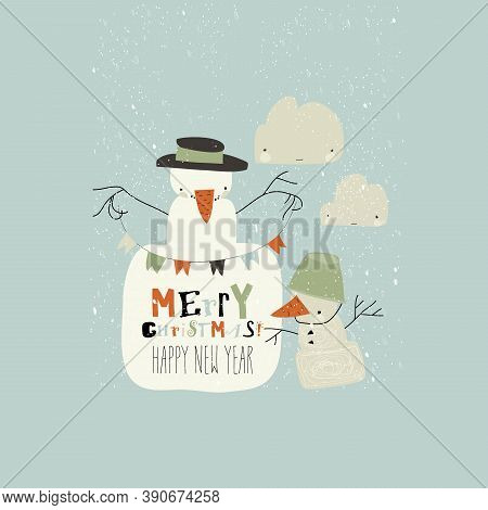 Funny Cartoon Snowmans Celebrating Winter Holidays. Merry Christmas