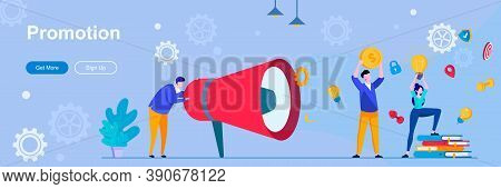 Promotion Landing Page With People Characters. Digital Marketing And Announcement Web Banner. Advert