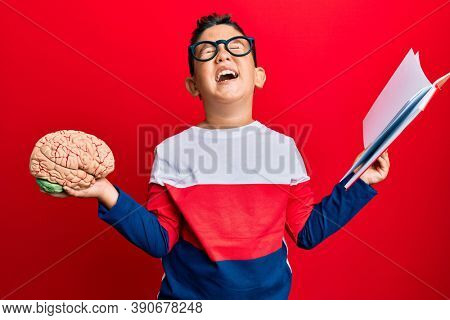 Little boy hispanic kid holding brain studying for school smiling and laughing hard out loud because funny crazy joke.