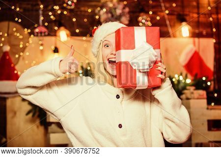 Merry Christmas And Happy New Year. Happy Smiling Woman And Gift Box. Boxing Day. Cozy Home. Happy M