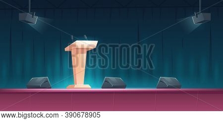 Podium, Tribune With Microphones On Stage For Speaker On Conference, Lecture Or Debate. Vector Carto