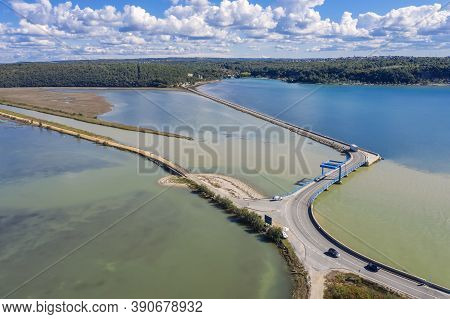 The Mouth Of A River Mirna Into The Adriatic Sea, Antenal, Istria, Croatia