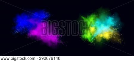Color Powder Explosions Isolated On Black Background. Splash And Spray Of Paint Dust With Particles.