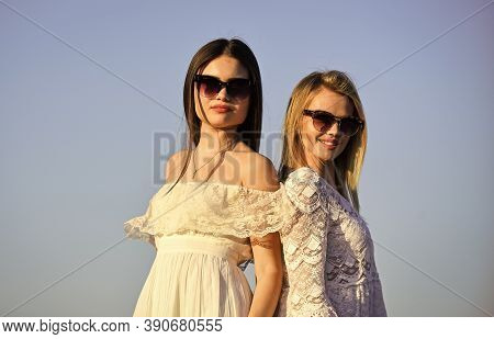Find Woman Inner Strength. Harmony And Balance. Femininity Concept. Beautiful Women On Sunny Day Blu