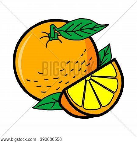 Lemon Logo Design Illustration, Fresh Lemon Fruits With Branch And Slice Icon Vector Illustration, H