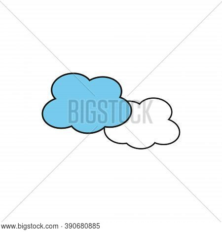 Set Of Cloud Line Icons Isolated On White Background. Black Outline Icon With Shifted Blue Flat Fill