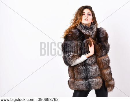 Fur Store Model Enjoy Warm In Soft Fluffy Coat With Collar. Fur Fashion Concept. Winter Elite Luxury