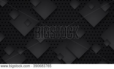 Black Technology Background With Dotted Stylized Shapes, Soft Shadow And Space For Your Ad Text. Vec