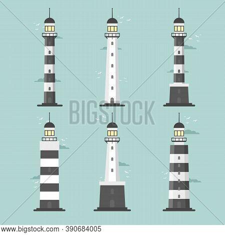 Lighthouses. Set Of Of Large Lighthouses Over Blue Background. Vector Flat Design Illustration.