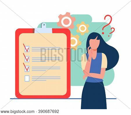 Woman Coming Up With Ideas For New Project. Check List, Plan. Flat Vector Illustration. Project Conc
