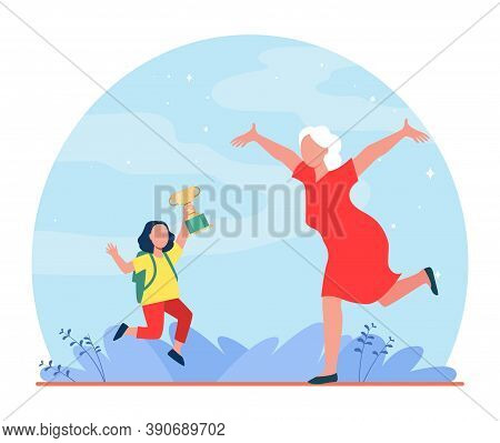 Grandparent Congratulating Grandchild With Victory In Contest. Emotions, Cup. Flat Vector Illustrati