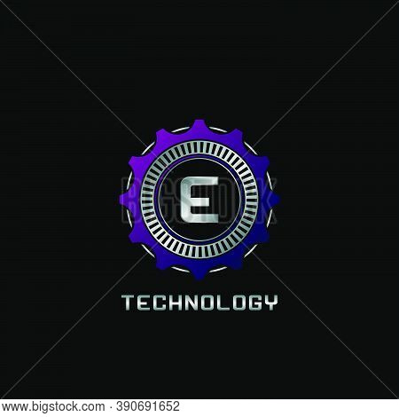 Technology Gear Rail  E Letter Logo Vector Design, The Techno Logo For Industrial, Automotive,  Tech