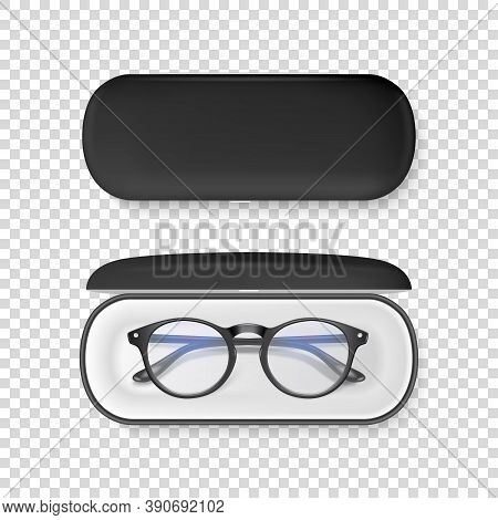 Vector 3d Realistic Plastic Round Black Rimmed Eye Glasses In Black Case Box Closeup Isolated On Ran