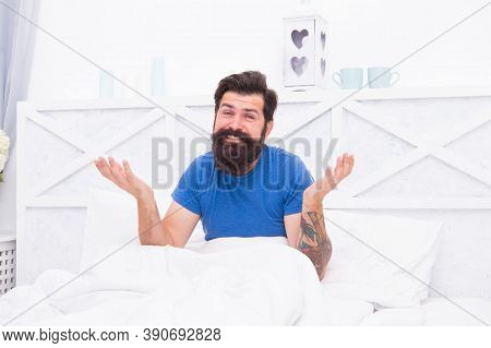 Confused Bearded Guy Has Some Health Problems With Morning Erection, Mens Healthy Life.