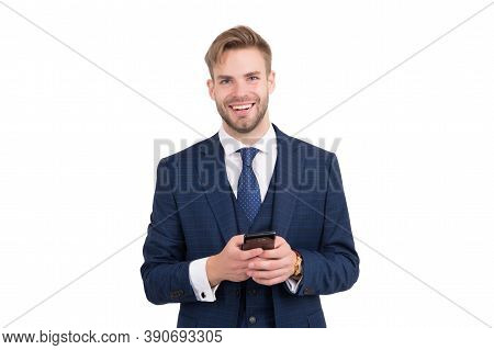 Being Communicative. Happy Employee Send Sms Isolated On White. Business Communication. Using New Te