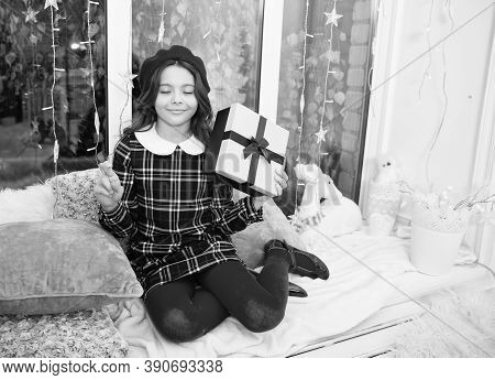 Hopeful Concept. Kid At Home Relaxing On Cozy Window Sill. Magic Moment. Happy Winter Holidays. Smal