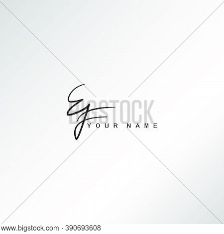 Signature Logo E And F, Ef Initial Letter Logo Design. Handwriting Calligraphic Signature Logo Desig