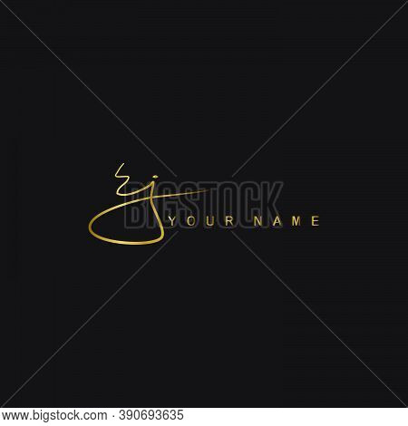 Gold Signature Logo E And J, Ej Initial Letter Logo Design. Handwriting Calligraphic Signature Logo