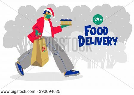 Delivery Of Food To The Christmas Table During The Prevention Of The Coronavirus Covid-19. A Courier