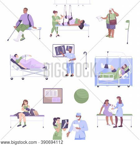 Flat Fracture Icon Set Patients With Injuries And Fractures Xray And Doctor S Consultation Vector Il