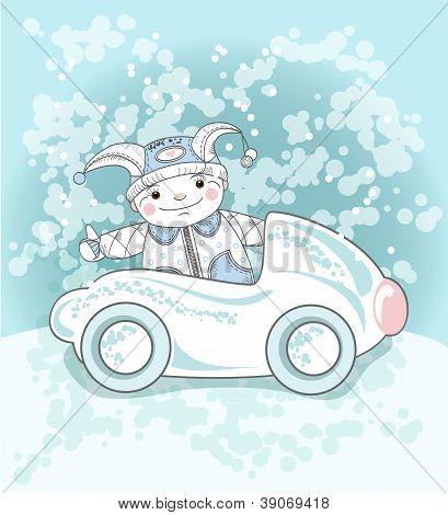 Boy And Snow Car