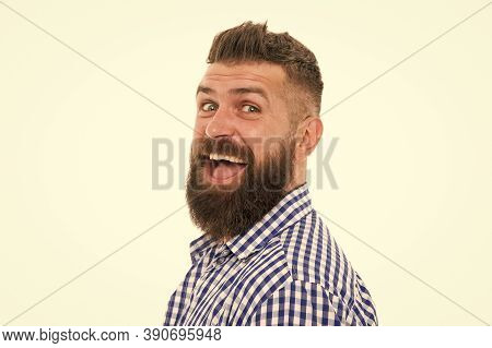 Happy Emotional Guy. Emotional Intellect. Happy Man On White Background. Bearded Man Smiling. Hipste