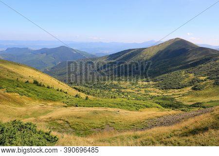 View on valley in ukrainian carpathians