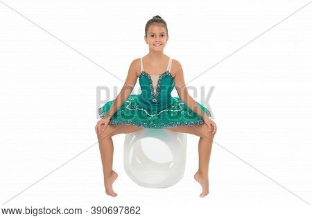 Child Flexible Pupil Practice Stretching. Child Tender Dancer Look Gorgeous Fancy Leotard. Dream Of
