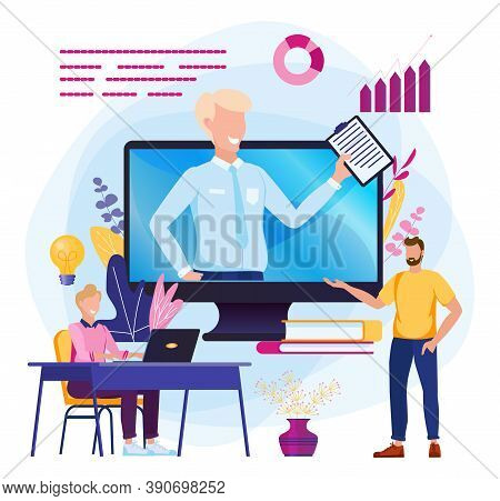 Online Work. Submission Of Reports On The Internet. Vector Illustration Of A Webinar On Video Calls.