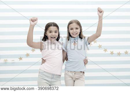 Best Friends. Small Happy Girls Embrace As Best Friends. Friendship Of Small Girls. Meeting With The