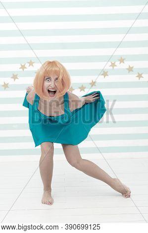 Comic And Humorous Concept. Woman Playful Mood Having Fun. Fun And Entertainment. Girl Bob Wig Posin