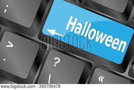 Halloween Key On Computer Keyboard. Holiday Concept