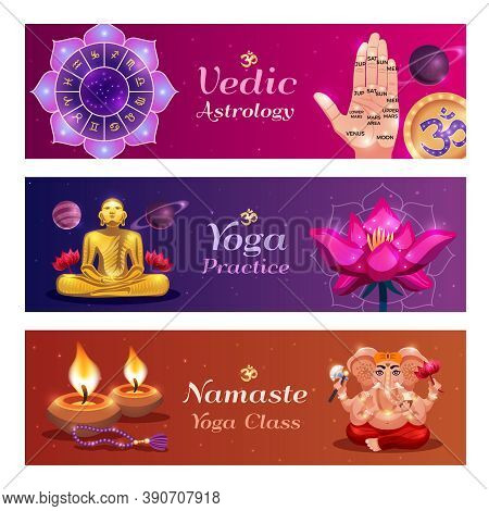 Yoga Namaste 3 Horizontal Colorful Background Vedic Astrology Banners With Lotus Candles Hand Palm R