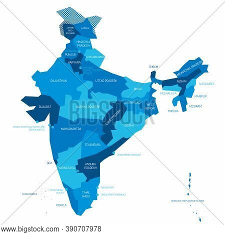 Blue Political Map Of India. Administrative Divisions - States And Union Territories. Simple Flat Ve
