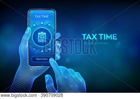 Concept Tax Payment. Data Analysis, Financial Research Report And Calculation Of Tax Return. Payment