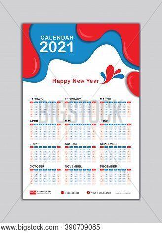 2021 Wall Calendar Design. desk calendar 2021 template, happy new year 2021,  Week Starts on Saturday. 2021 creative calendar, Set of 12 Months for calendar 2021 year. vector illustration.