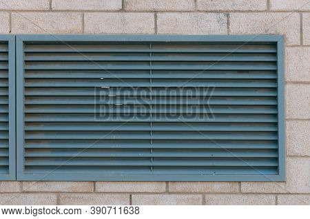 Close-up View Of Fragment Modern Industrial Building Facade And Ventilation Grille. Outdoor Ventilat