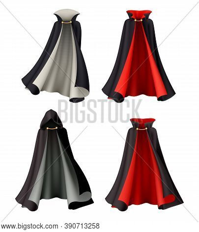 Halloween Witch Vampire Cloak Set With Realistic Images Of Magic Gowns Festive Costumes On Blank Bac