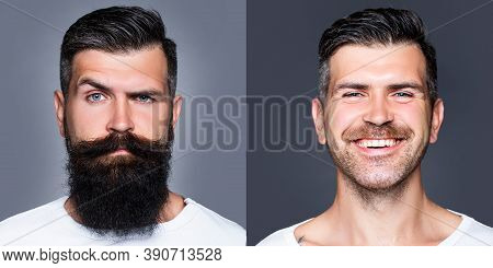 Bearded Man With Long Beard And Mustache Or Handsome Hipster In Barbershop. Shaved Vs Unshaven Barbe
