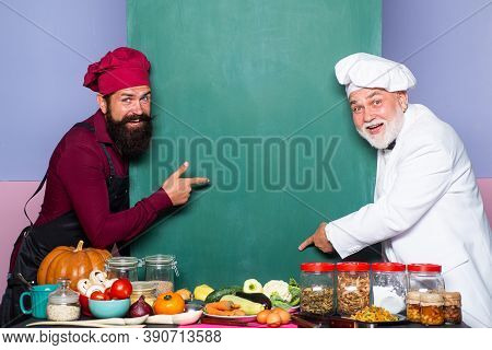 Funny Chefs Men. Empty Menu Chalkboard Or Blackboard With Copy Space For Text Menu. Male Chef, Cook