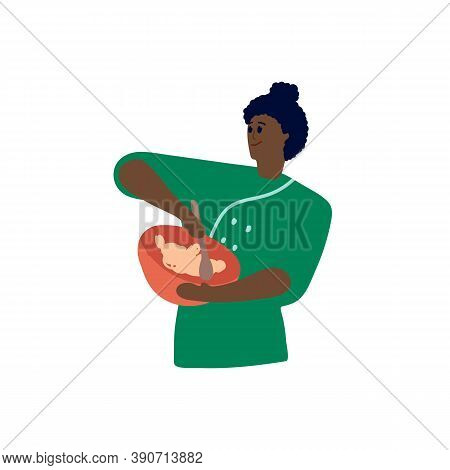 Vector Ethnic Woman Baker. Women To Prepare To Eat Mixed Foods. Illustration Of The Concept Of An Af