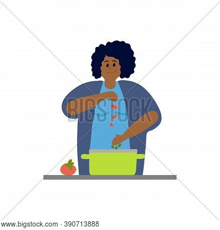 Vector Ethnic Woman Cook. Women To Cook To Eat And Sleep Products In The Pan. Illustration Of The Co