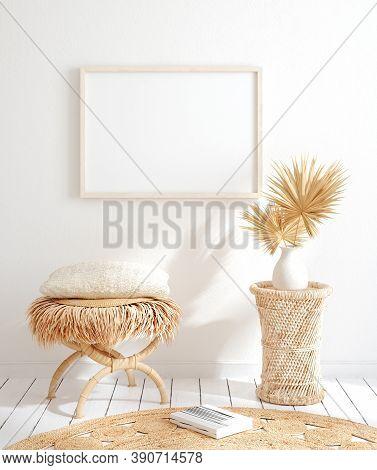 Mock Up Frame In Home Interior Background, White Room With Natural Wooden Furniture, 3d Illustration