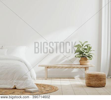 White Cozy Farmhouse Bedroom Interior, Wall Mockup, 3d Illustration