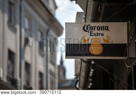 Belgrade, Serbia - August 9, 2020: Cerveza Corona Logo In Front Of A Local Retailer Bar In Belgrade.